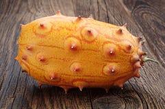 Fruit Kiwano - concombre à cornes africain photo libre de droits