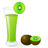 Fruit kiwi and glass of juice Royalty Free Stock Photography