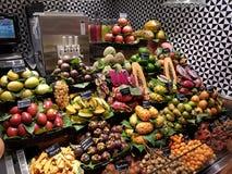 Fruit at La Boqueria in Barcelona, Spain. A stall with beautiful fruit at La Boqueria in Barcelona Spain stock photo