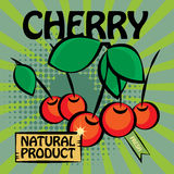 Fruit label, Cherry Royalty Free Stock Images