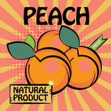Fruit label, Peach. Color illustration Royalty Free Stock Photos