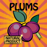 Fruit label, Plums Stock Photos