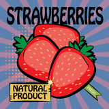 Fruit label, Strawberries Stock Photo