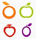 Fruit labels. Strawberry, apple, orange, and plum - vector illustration Royalty Free Stock Photos