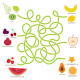 Fruit  labyrinth game for Preschool Children. Vector Stock Photo
