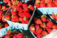 Fruit in landbouwersmarkt het plaatsen Stock Foto's