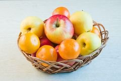 Fruit large red ripe apples and tangerines Royalty Free Stock Photo