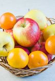 Fruit large red ripe apples and tangerines Stock Image