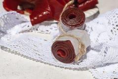 Fruit leather rolls, closeup shot Royalty Free Stock Image