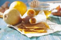 Fruit leather rolls, closeup shot Stock Photo