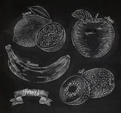 Fruit lemon, apple, banana, kiwi chalk Royalty Free Stock Images