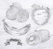 Fruit lemon, apple, banana, kiwi vintage. Fruit painted in vintage style cabbage lemon, apple, banana, kiwi Stock Image