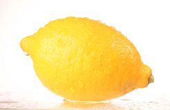 Fruit - Lemon isolated. The juicy fruit of lemon on ice stock photo