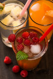 Fruit lemonade. Cold beverages with mint and fruit stock photo