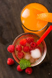 Fruit lemonade. Cold beverages with mint and fruit stock image