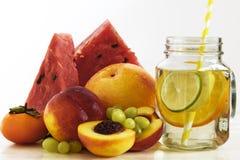 Fruit lemonade in jar Stock Photos