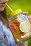 Fruit lemonade in jar royalty free stock photo
