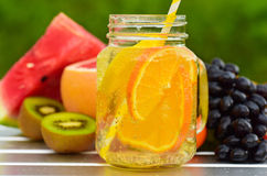 Fruit lemonade in jar Stock Photography