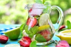 Fruit lemonade with strawberry. Stock Photos