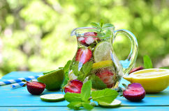 Fruit lemonade with strawberry. Royalty Free Stock Photography