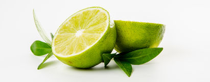 Fruit. Lime and green mint leaves Stock Images