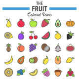 Fruit line icon set, food symbols collection. Vegetarian vector sketches, logo illustrations, colorful linear pictograms package isolated on white background Stock Photos