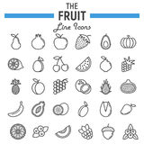 Fruit line icon set, food symbols collection. Vegetarian vector sketches, logo illustrations, linear pictograms package isolated on white background, eps 10 Stock Image