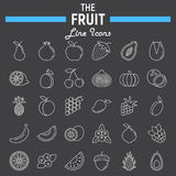 Fruit line icon set, food symbols collection Stock Photo