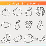 Fruit line icons royalty free illustration
