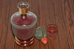 Fruit liqueur out of Sweet cherry Royalty Free Stock Photo