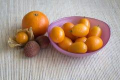 Fruit litchi, kumquat, inca berries and mandarin. Stock Photos