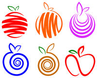 Fruit logo set. Isolated line art fruit logo set Royalty Free Stock Photography