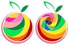 Fruit logo set. Isolated line art fruit logo set Stock Images