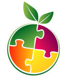 Fruit logo. Vector illustration of fruit logo like a puzzle Royalty Free Stock Images