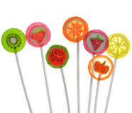 Fruit Lollipops. Assortment On White Background Royalty Free Stock Photography