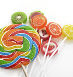 Fruit Lollipops. Assortment On White Background Stock Photo