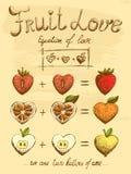 Fruit love formula vintage poster Stock Photo