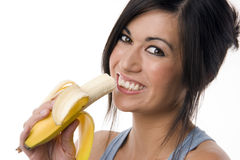 Fruit Lover Woman Takes Bite of Fruit Banana Royalty Free Stock Image