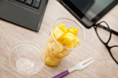 Fruit Lunch Box At Office Stock Photos