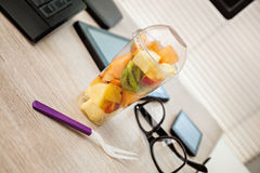 Fruit Lunch Box At Office Royalty Free Stock Image