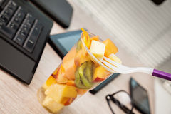 Fruit Lunch Box At Office Stock Images