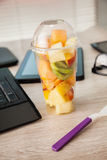 Fruit Lunch Box At Office Royalty Free Stock Photos