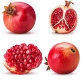 Fruit mûr de grenade de collection, totalité, coupe dans la moitié, tranche image libre de droits