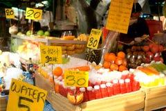 Fruit market. Fruit market in Bangkok. Various exotic fruits and fresh juices.Thailand, Bangkok, 2012 Stock Photos