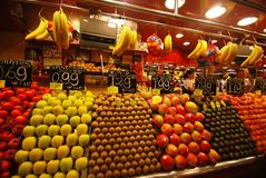 Fruit market in Barcelona Stock Images