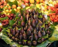 Fruit market in Barcelona. Fresh figs on La Boqueria market in Barcelona Stock Photography