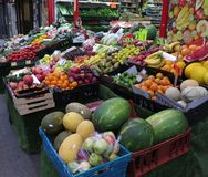 Fruit market. A box of fruit and vegetables in London Stock Photography