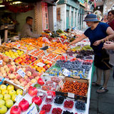 Fruit market with colorful fruits and vegetables Royalty Free Stock Image