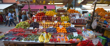Fruit market with colorful fruits and vegetables Royalty Free Stock Photo