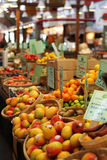 Fruit market with diverse fruit. In baskets Stock Photography